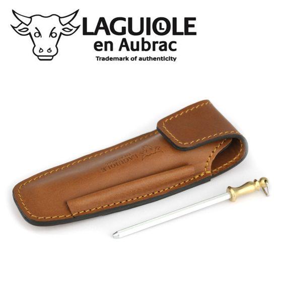 Laguiole en Aubrac - Gürteletui mit Schleifstab - braunes Leder - für 11/12 cm Taschenmesser – Bild 2
