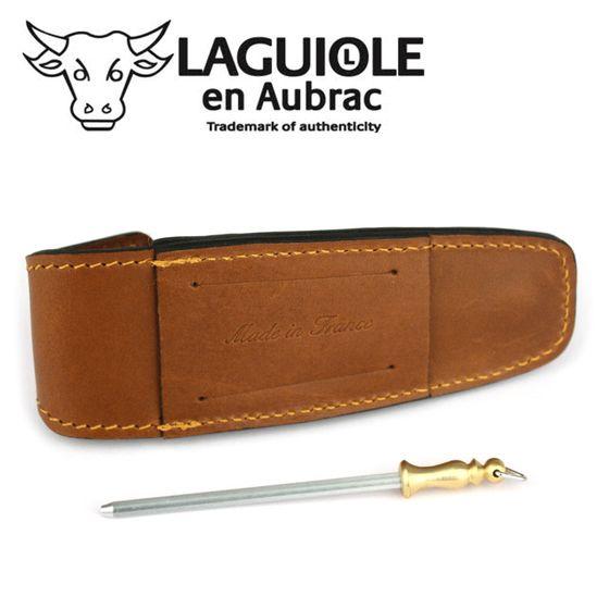 Laguiole en Aubrac - Gürteletui mit Schleifstab - braunes Leder - für 11/12 cm Taschenmesser – Bild 3