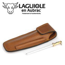 Laguiole en Aubrac EAF braunes Gürteletui aus Leder mit Schleifstab für ein Taschenmesser Bild 2