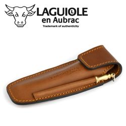 Laguiole en Aubrac - Gürteletui mit Schleifstab - braunes Leder - für 11/12 cm Taschenmesser – Bild 1