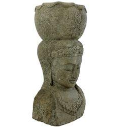Dewi Kopf Büste Stein 100 cm Bali Steinfigur Pflanzgefäß Pflanzentopf