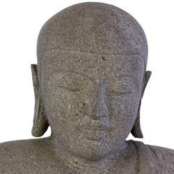 Wuona Objects balinesische Buddha Statue 68 cm Lavastein Steinskulptur sitzend betend Bild 3