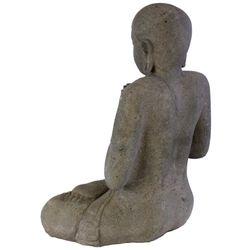 Balinesische Buddha Statue 68 cm Lavastein Steinskulptur sitzend betend Bild 7