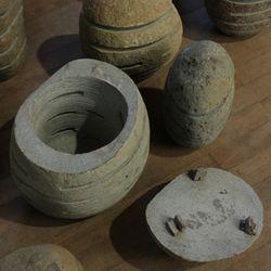 Steinlampe L 40-50 cm  Fluss-Stein Gartenlampe Handarbeit Bali 004