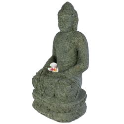 Balinesische Buddha Statue 61 cm Stein Skulptur sitzend Bild 4