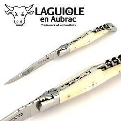 Laguiole en Aubrac - Knochen - Korkenzieher - 12 cm Taschenmesser L0312OSIFI – Bild 5