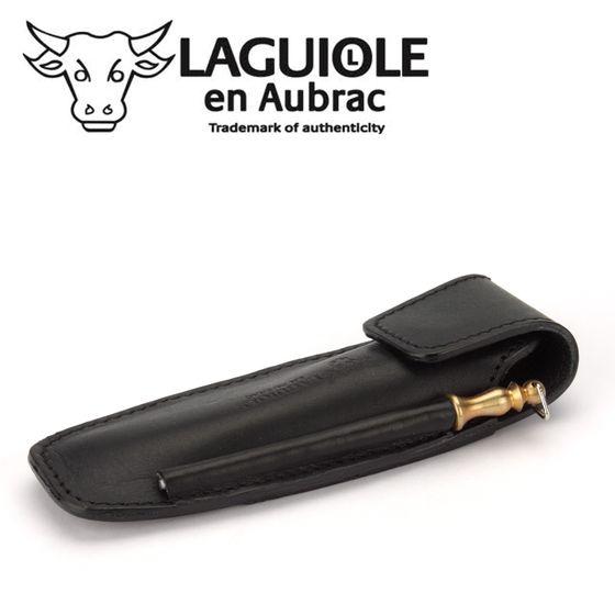 Laguiole en Aubrac EAF - Gürteletui - schwarzes Leder - Schleifstab – Bild 2
