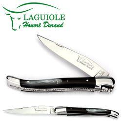 Laguiole Honoré Durand - Griff Horn - 12 cm Taschenmesser - Klinge und Backen Stahl glänzend – Bild 1