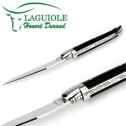 Laguiole Honoré Durand - Griff Horn - 12 cm Taschenmesser - Klinge und Backen Stahl glänzend – Bild 3