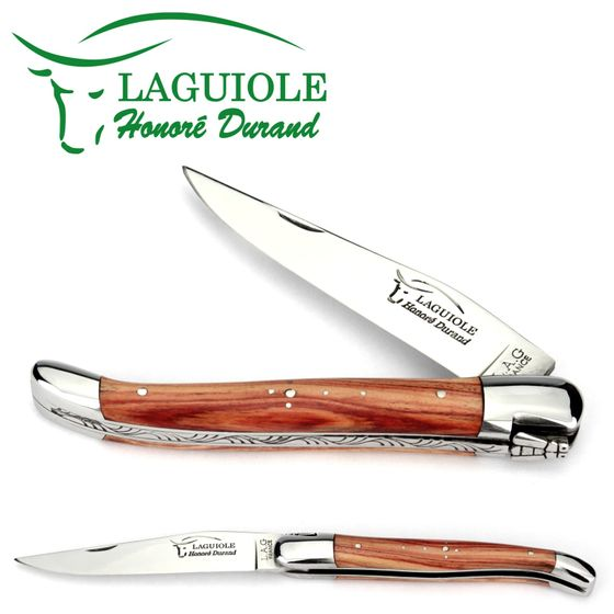 Laguiole Honoré Durand - Griff Rosenholz - 12 cm Taschenmesser - Klinge und Backen Stahl glänzend – Bild 1