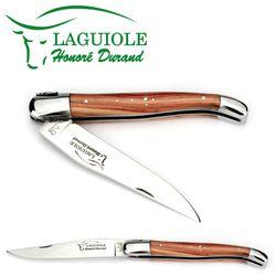 Laguiole Honoré Durand - Griff Rosenholz - 12 cm Taschenmesser - Klinge und Backen Stahl glänzend – Bild 2