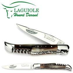 Laguiole Honoré Durand - Griff Hornspitze - Doppelplatine - 12 cm Messer mit Korkenzieher – Bild 1
