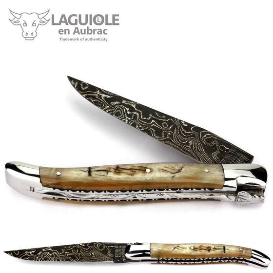 Laguiole en Aubrac - Widderhorn - Damastklinge - Doppelplatine - 12 cm Taschenmesser – Bild 1