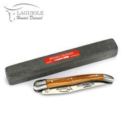Laguiole Honoré Durand - Olivenholz - 11 cm Taschenmesser + Schleifstein – Bild 4