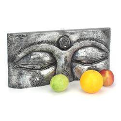 Buddha Augen Wandmaske - Gr. L 50 cm - silber 002