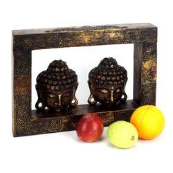 Buddha Kopf Reliefbild - 42 cm breit - gold 002