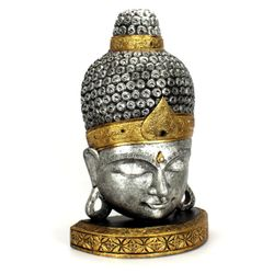 Buddha Kopf aus Holz - Gr. S 70 cm - silber gold