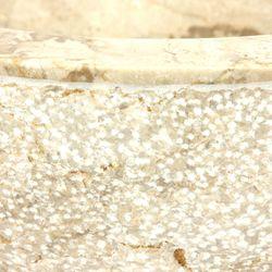 Aufsatzwaschbecken 40 cm heller Marmor innen poliert - außen Struktur 003