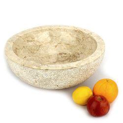 Aufsatzwaschbecken 40 cm heller Marmor innen poliert - außen Struktur 005