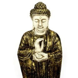 Buddha Figur 70 cm Lava Guss - gold / weiß 002