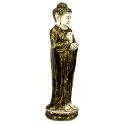Buddha Figur 70 cm Lava Guss - gold / weiß 003