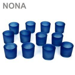 12 schwere, robuste Teelichtgläser. Farbe Blau.