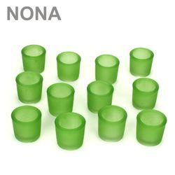 12 schwere, robuste Teelichtgläser. Farbe Grün.