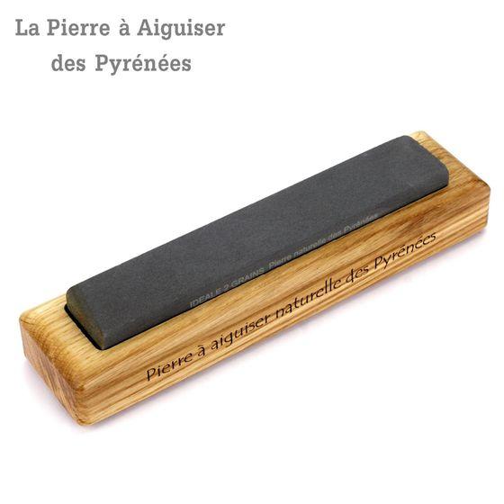 Natürlicher Schleifstein aus den Pyrenäen - 2 Korngrößen - Holzhalter – Bild 1