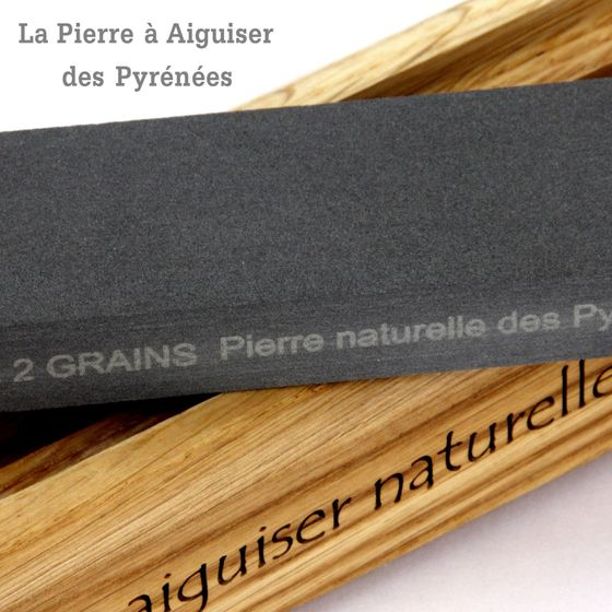 Natürlicher Schleifstein aus den Pyrenäen - 2 Korngrößen - Holzhalter – Bild 3