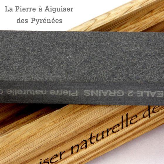 Natürlicher Schleifstein aus den Pyrenäen - 2 Korngrößen - Holzhalter – Bild 4