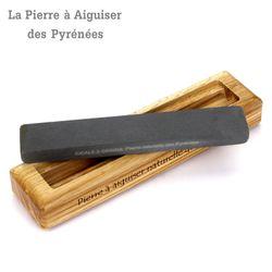 Natürlicher Schleifstein aus den Pyrenäen - 2 Korngrößen - Holzhalter Bild 2
