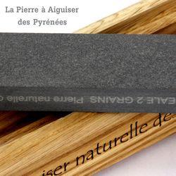 Natürlicher Schleifstein aus den Pyrenäen - 2 Korngrößen - Holzhalter Bild 4