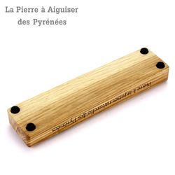 Natürlicher Schleifstein aus den Pyrenäen - 2 Korngrößen - Holzhalter Bild 5