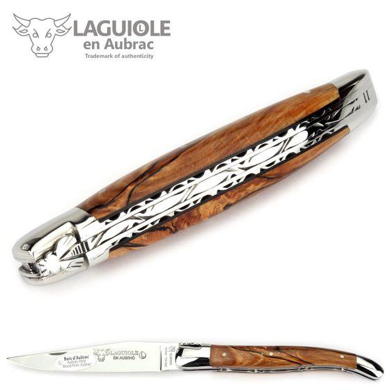 Laguiole en Aubrac - Buchenholz - Doppelplatine - 12 cm Taschenmesser – Bild 5