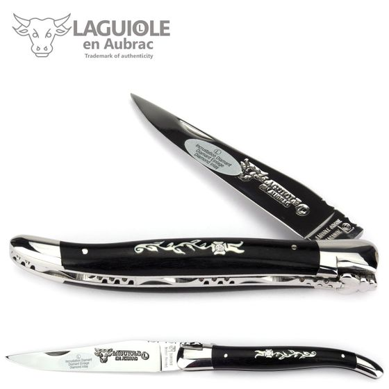 Laguiole en Aubrac - Ebenholz mit Mamuthzahn Intarsie + Diamant - 12 cm Taschenmesser – Bild 1