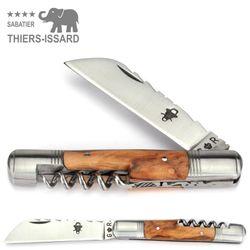 Thiers-Issard TONNEAU - Olivenholz - Korkenzieher - 10 cm Taschenmesser – Bild 1