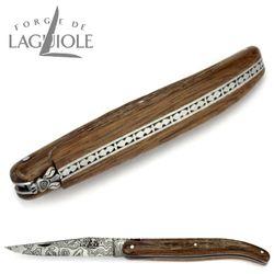 Forge de Laguiole Collection - 5000 Jahre alte Rinde von Mooreiche - Damast - 12 cm Taschenmesser – Bild 5