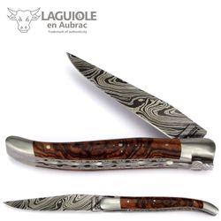 Laguiole en Aubrac - Eisenholz - Damastklinge - Doppelplatine - 12 cm Taschenmesser – Bild 1