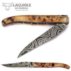 Laguiole en Aubrac - Griff Pappel Maserholz - Leiterdamast - Zisellierte Platine - 12 cm Taschenmesser – Bild 2