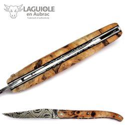 Laguiole en Aubrac - Griff Pappel Maserholz - Leiterdamast - Zisellierte Platine - 12 cm Taschenmesser – Bild 6