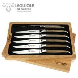 Laguiole en Aubrac Steakmesser - Polierte Hornspitze - 6er Set – Bild 1
