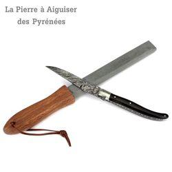 Natürlicher Schleifstein mit Holzgriff aus den Pyrenäen – Bild 3