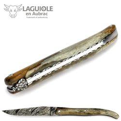 Laguiole en Aubrac - Griff Kamelknochen - Explosionsdamast - Zisellierte Platine - 12 cm Taschenmesser – Bild 5