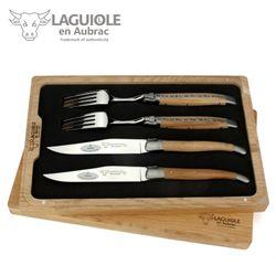 Laguiole en Aubrac - Griff Eiche - Set 2 Steakmesser + 2 Gabeln – Bild 1