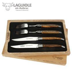 Laguiole en Aubrac - Griff Pistazie - Set 2 Steakmesser + 2 Gabeln – Bild 1
