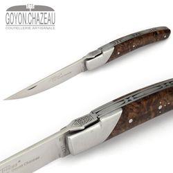 Goyon-Chazeau Le Thiers Pirou - Nussbaum Maserholz - 12 cm Taschenmesser – Bild 3