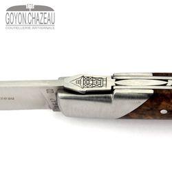 Goyon-Chazeau Le Thiers Pirou - Nussbaum Maserholz - Korkenzieher - 12 cm Taschenmesser – Bild 7