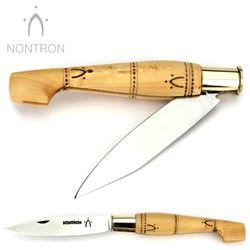 Nontron - Griff Buchsbaum - Virole Klingenarretierung - XC75 Carbonstahl - 12 cm Taschenmesser – Bild 2