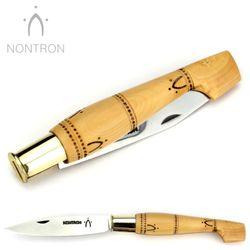 Nontron - Griff Buchsbaum - Virole Klingenarretierung - XC75 Carbonstahl - 12 cm Taschenmesser – Bild 4