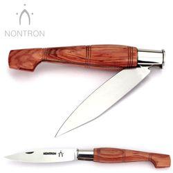 Nontron - Griff Rosenholz - Virole Klingenarretierung - XC75 Carbonstahl - 12 cm Taschenmesser – Bild 2